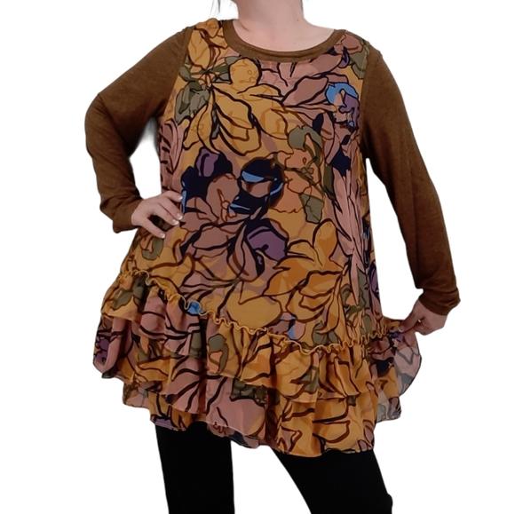 LOGO Lori Goldstein Jaspe Knit Top & Tank Flounce Tunic Twinset Floral Ruffle 1X